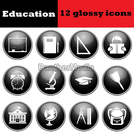 set of education glossy icons eps