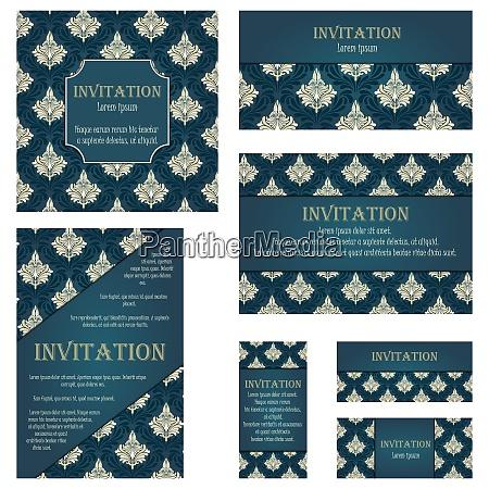 set von einladungskarten in verschiedenen groessen