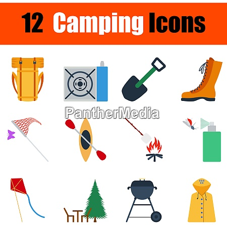 flat design camping icon set in
