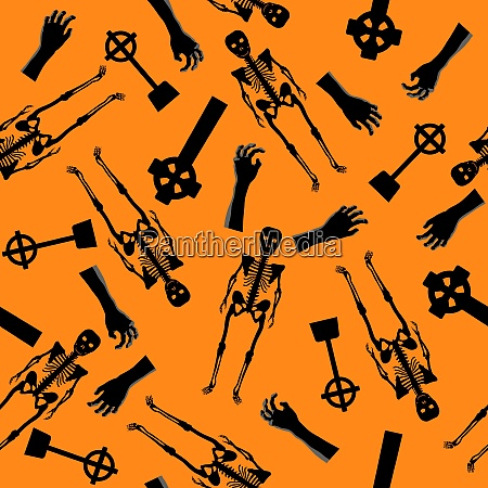 halloween holiday seamless pattern with skeleton