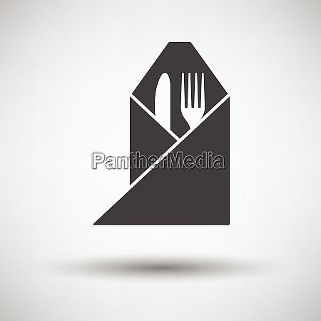 gabel und messer gewickelt servietten symbol