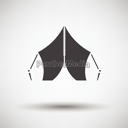 touristic tent icon on gray background
