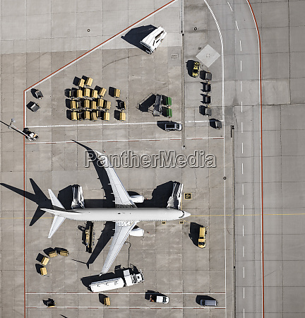 view from above commercial airplane being