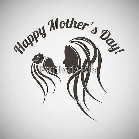 motherrsquos day emblem with silhouettes of