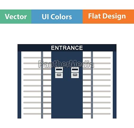 stadium entrance turnstile icon flat design