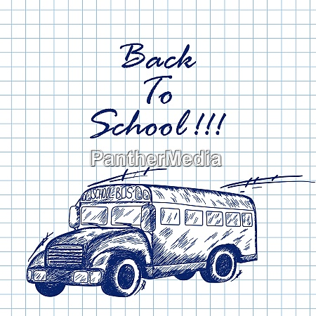 school bus doodle sketch on checkered