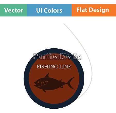 flat design icon of fishing line