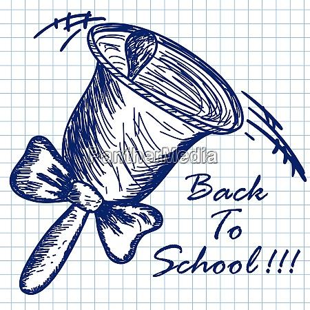 school hand bell doodle sketch on