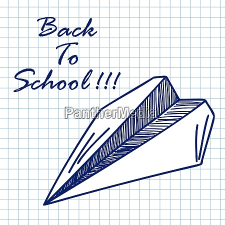 paper plane doodle sketch on checkered