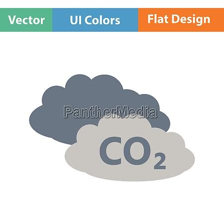 co2 cloud symbol flaches farbdesign vektor