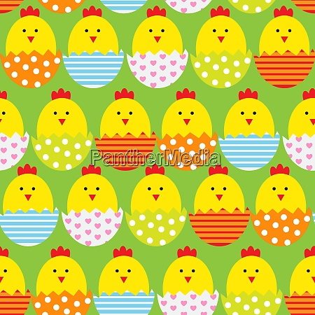 easter egg and	chicken seamless pattern