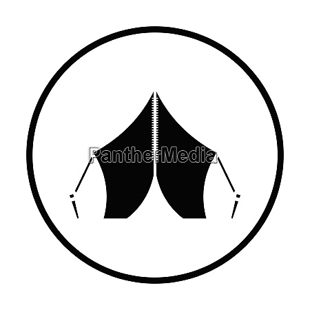 touristic tent icon thin circle design
