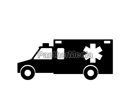 black and white emergency ambulance with