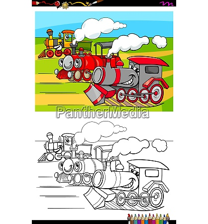 locomotives characters group color book