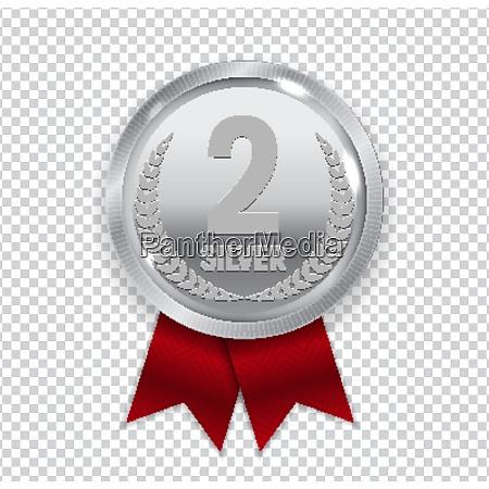 champion kunst silbermedaille mit roten band