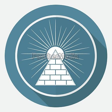 ikonenpyramide auf weissem kreis mit langem