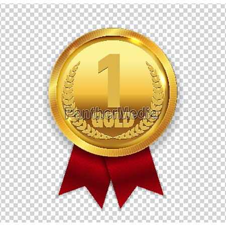 champion art golden medal with red