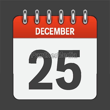 december 25 calendar daily icon vector