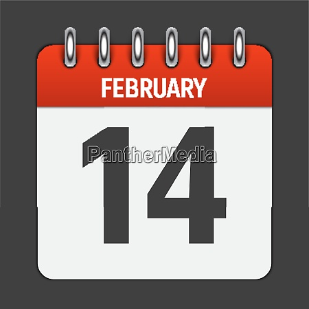 february 14 calendar daily icon vector