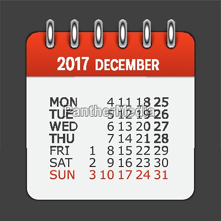 december 2017 calendar daily icon vector