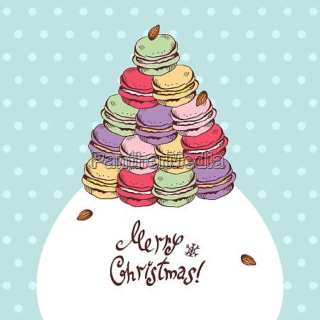 vektor weihnachtskarte mit cartoon makronen weihnachtsbaum