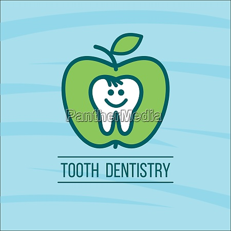 dentist tooth and a green apple