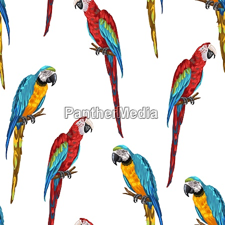 tropical seamless pattern with parrots hand