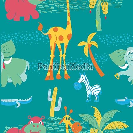 afrikanische cartoon tiere nahtloses muster mit