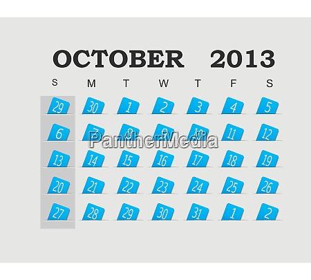vector calendar 2013 blue october vector