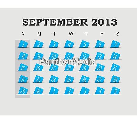 vector calendar 2013 blue september vector