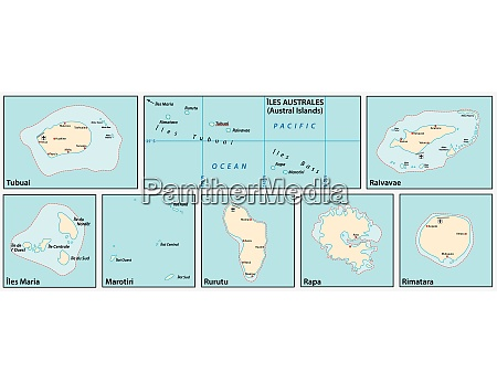 vector map of the austral islands