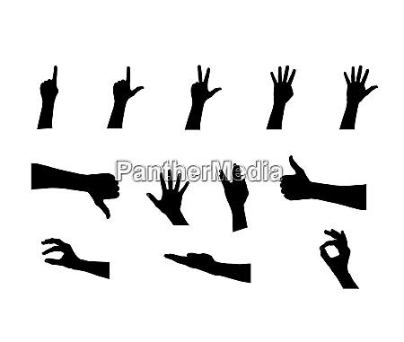 black set of hand vector illustration