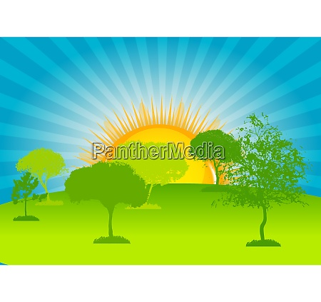abstract silhouette green tree vector illustration