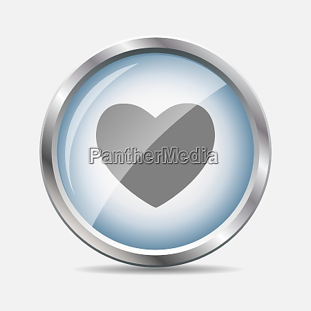 heart glossy icon isolated vector illustration
