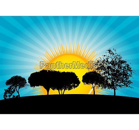 abstract silhouette tree on blue background