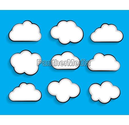 set of flat cloud shaped frames