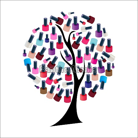 tree with realistic nail polish vector