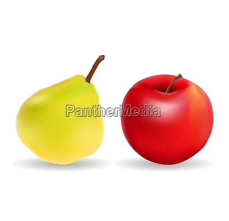 green pear and red apple isolated