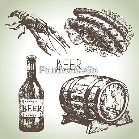 oktoberfest set of beer hand drawn