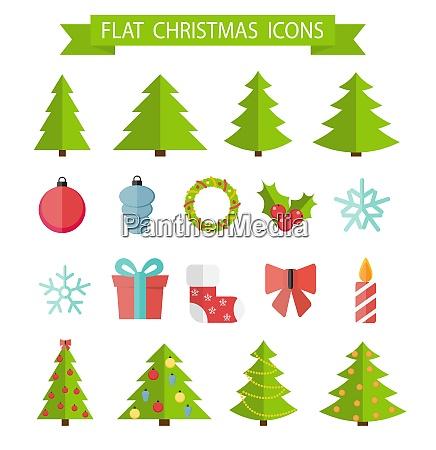 christmas flat icon set vector illustration