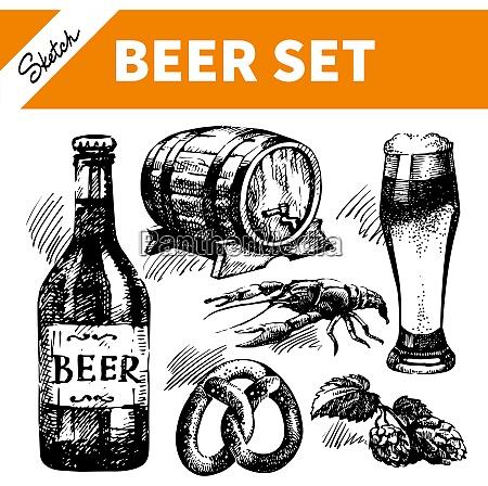 sketch oktoberfest set of beer hand