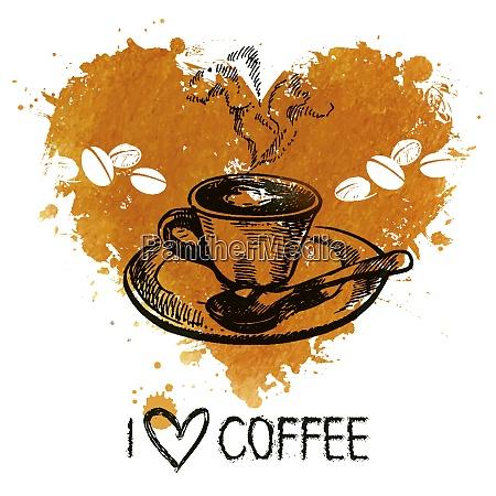 hand gezeichnet vintage kaffee hintergrund mit