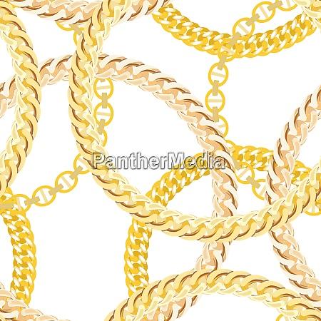 gold chain jewelry seamless pattern background