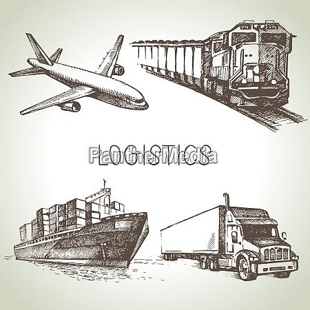 handgezeichnete logistik und lieferung skizze symbole