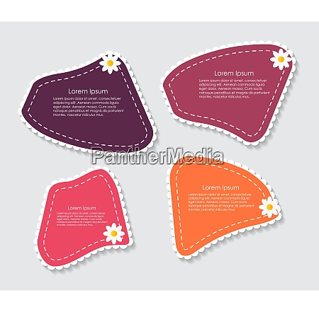 colored beautiful labels with flower vector