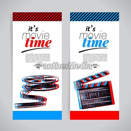 set of movie banners cinema festival