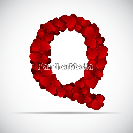 valentine day alphabet of hearts vector