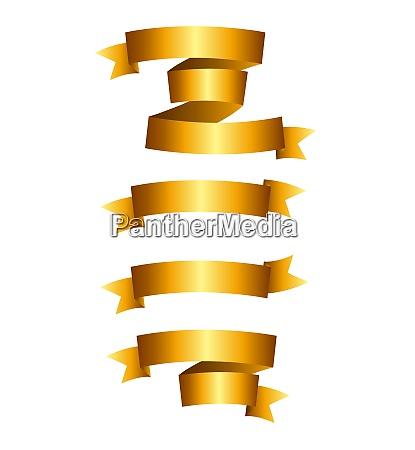 beautiful gold ribbon label set vector