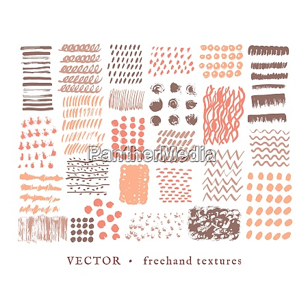 set creative freehand isolated textures vector