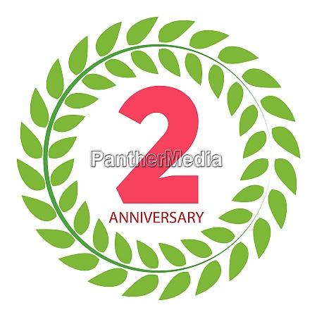 vorlage logo 2 jahrestag in lorbeer
